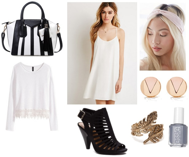 White slip dress with bag, sweater, and hairband