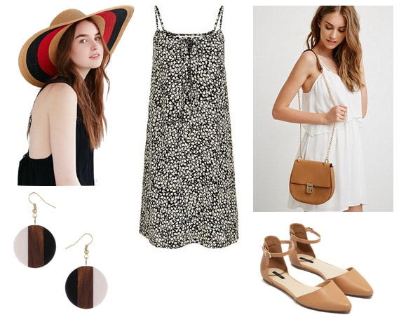 Dotted slip dress with wide-brim hat, striped earrings, flats, and bag