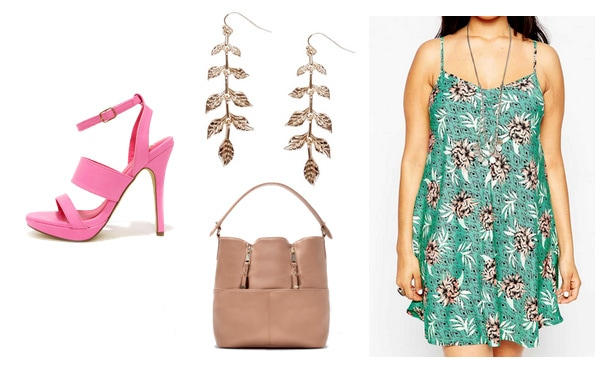 Green print dress with pink heels, bag, and earrings