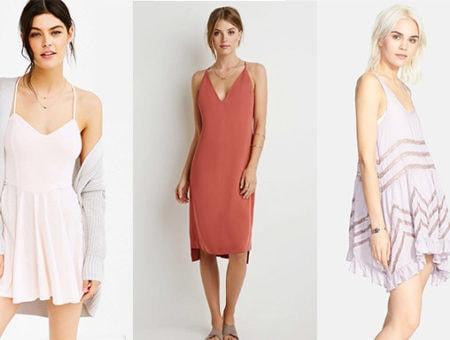 Pink slip dress, orange slip dress, and lavender slip dress