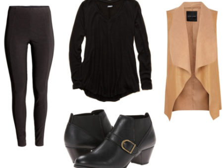 Black leggings with black tee, black boots, and tan vest