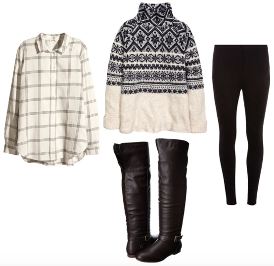 White flannel shirt with patterned turtleneck, black trousers, and brown boots