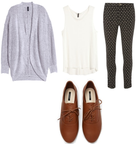 Blue cardigan with tan oxfords, white tank, and eye print trousers