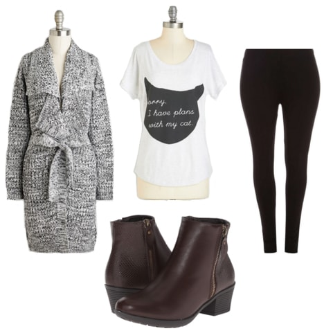 Gray marled cardigan with cat tee, black leggings, and brown boots