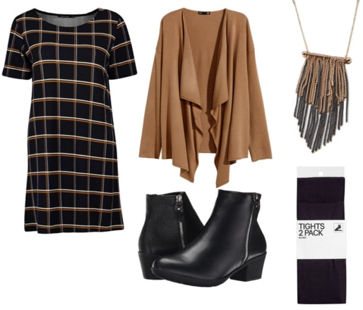 Plaid dress with camel cardigan, black booties, gold fringe necklace, and black tights