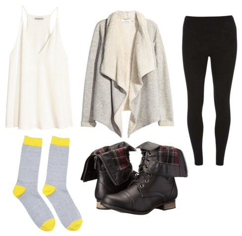 White tank, shearling cardigan, black leggings, marled socks, and black combat boots