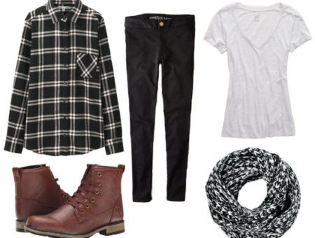 Flannel, black jeggings, gray V neck, marled scarf, and brown lug boots