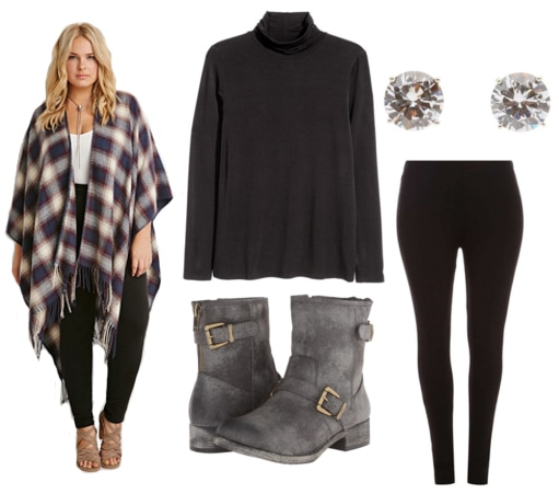 Plaid poncho, black turtleneck, black leggings, gray boots, and diamond studs