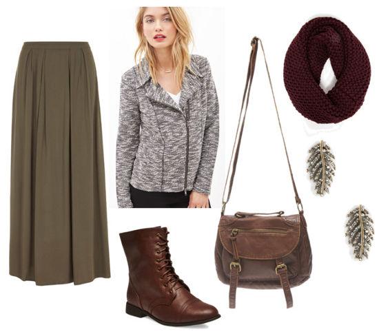 Outlander green maxi skirt gray jacket