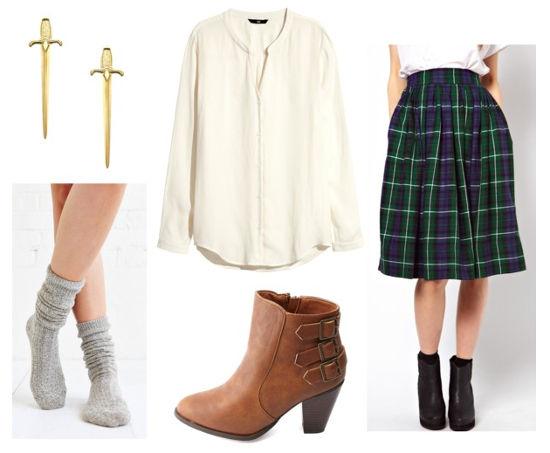 Outlander plaid midi skirt white blouse