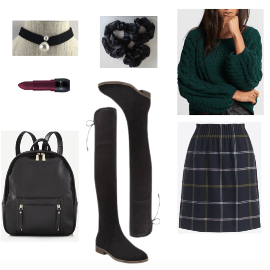 Over-the-knee boots outfit: preppy school girl-esque.