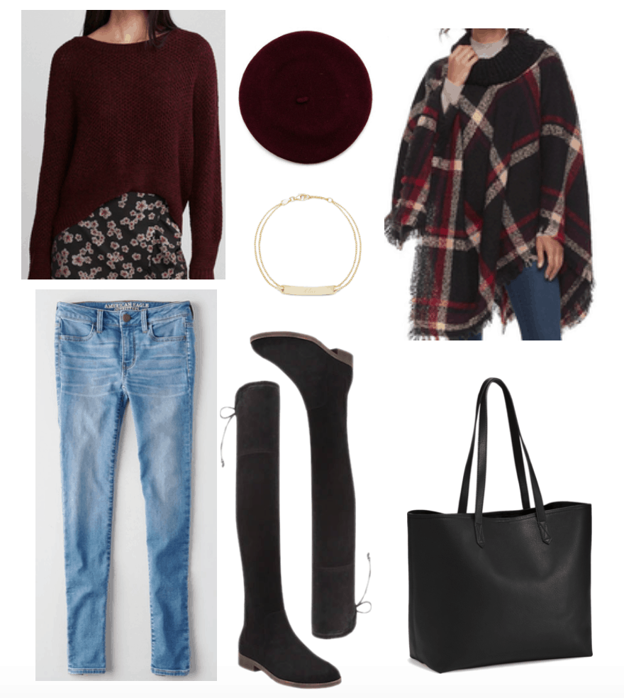 Over-the-knee boots outfit with burgundy accents.