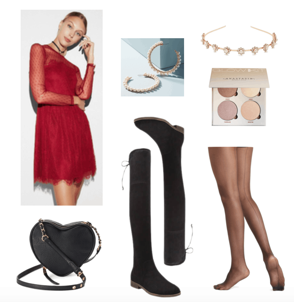 Over-the-knee boots outfit with red dress.