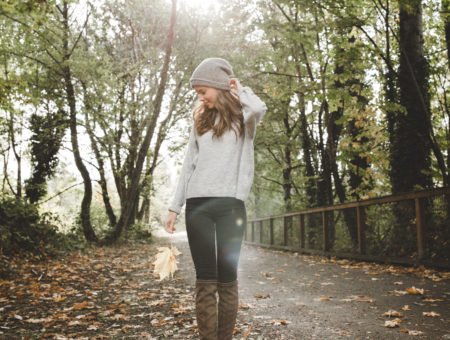 Over-the-knee boots outfit with jeans and a striped tee