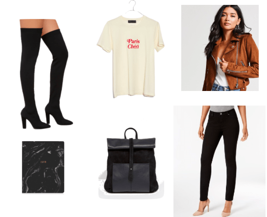 How to style over the knee boots for class with a brown suede jacket, basic black over the knee boots, black jeans, a black backpack, a Paris Cheri tee shirt and a black marble print notebook
