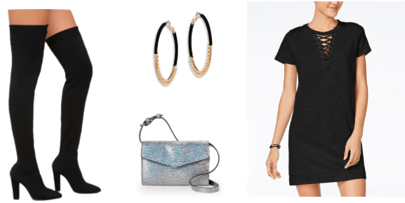 How to style over the knee boots for a night out with a black lace-up tee shirt dress, silver glitter crossbody bag, hoop earrings, and black suede over-the-knee boots