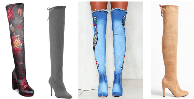 Over the knee boots trend - photos of different boots including a floral pair, a slate gray pair, a denim pair with graphics, and a tan suede pair