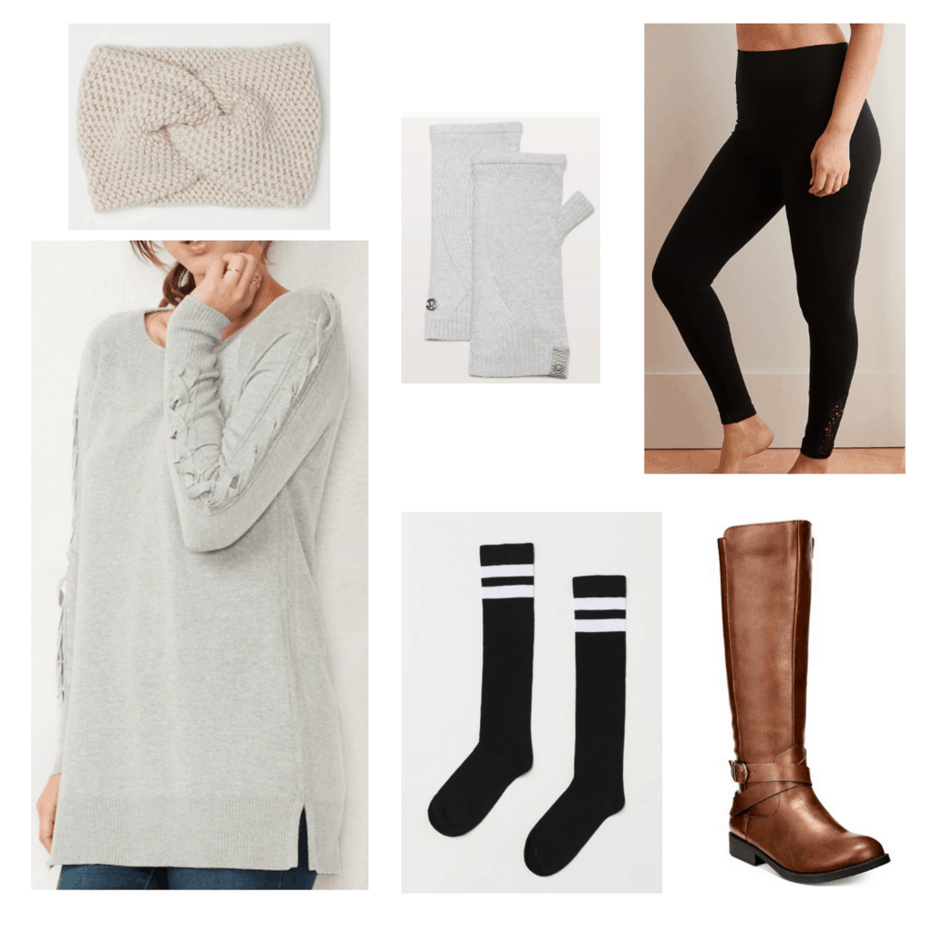 oversized sweater + leggings + athleisure accessories outfit