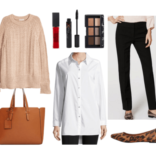 Work outfit idea with oversized sweater, long sleeved shirt, trousers, and wedge flats