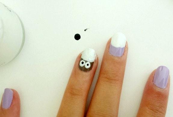 Owl nail art step 4