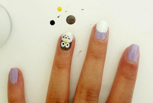 Owl nail art step 5