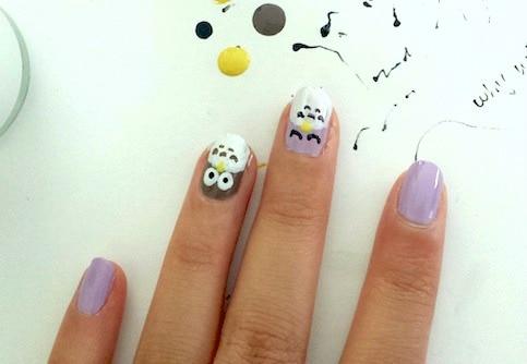 Owl nail art step 6