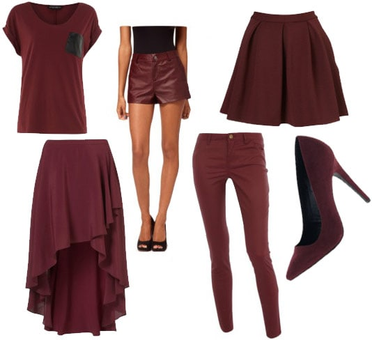 Oxblood items for Fall: Tee shirt with leather pocket, high-low skirt, faux leather shorts, skinny jeans, a-line skirt, pumps