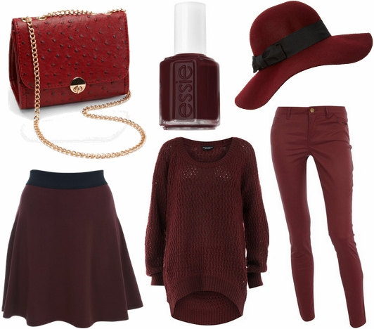 Oxblood clothes and accessories