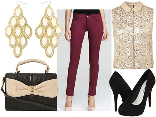 How to wear oxblood jeans for night with a sequined button up tank, black pumps, a black and ivory cross body bag, and gold chandelier earrings
