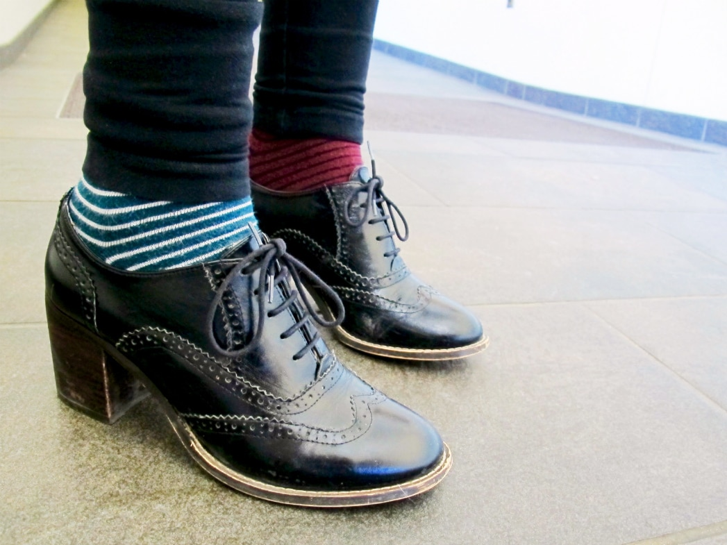 Oxford booties and mismatched socks