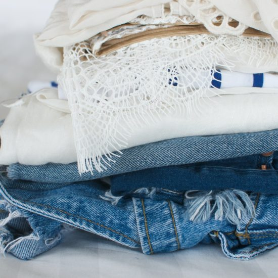 Folded clothes packed