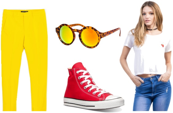 Outfit inspired by Pacman - yellow pants, white tee, red sneakers, sunglasses