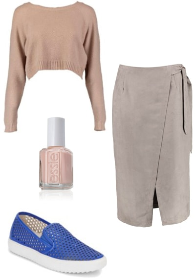 Outfit inspired by Paco Rabanne 2017: Neutral wrap skirt and cropped sweater, blue slip on sneakers