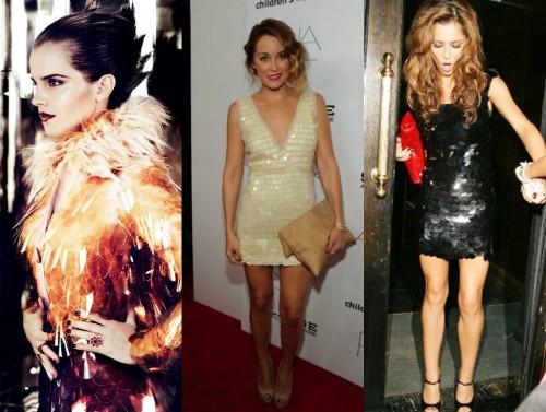 Celebs in Pailette Party Dresses