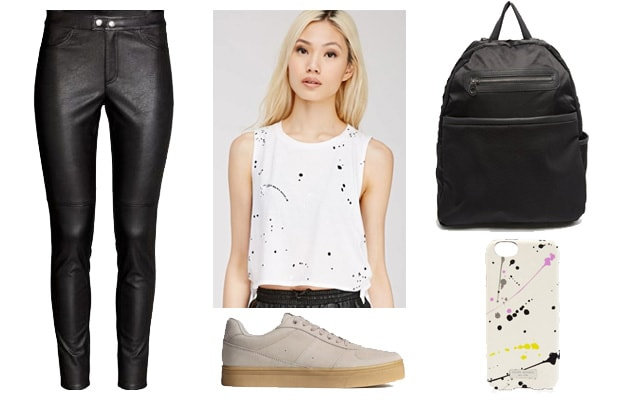 Street style paint splatter outfit