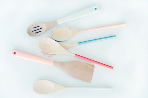 Picture of wooden spoons with painted handles.