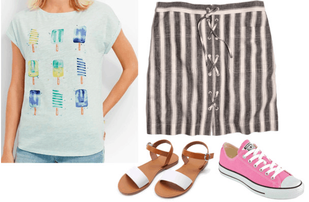 ice cream t-shirt striped skirt sandals pink converses