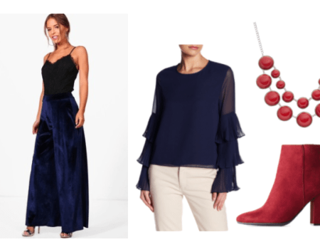 Pajama Sam Outfit Inspiration: Red Bubble Necklace, Red Back Tie Booties, Navy Ruffle Blouse, Navy Velvet Wide Leg Trouser