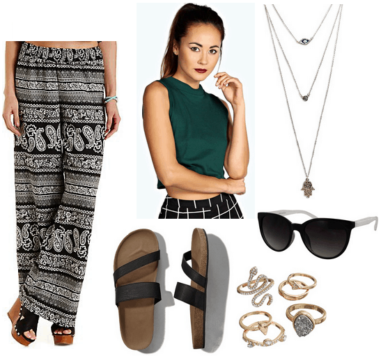 palazzo pants, crop top, footbed sandals