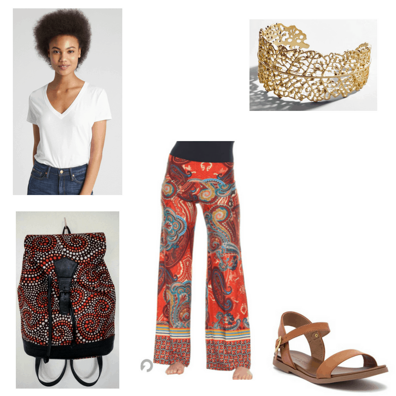 Outfit with white v-neck, orange palazzo pants, brown sandals, printed backpack, and gold cuff