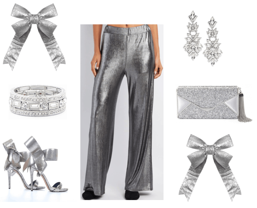 Palazzo pants with silver accessories.