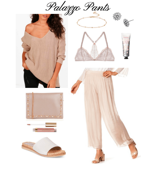 blush sweater, clutch, lip gloss, pants, bralette, hand cream, choker, stud earrings, white slides