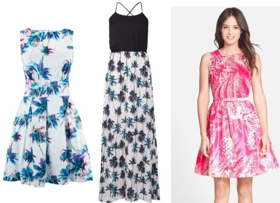 palm tree print dress examples