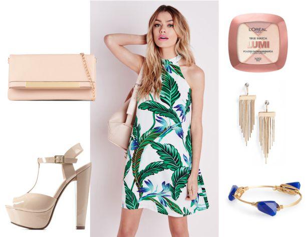 palm tree print dress night out 2