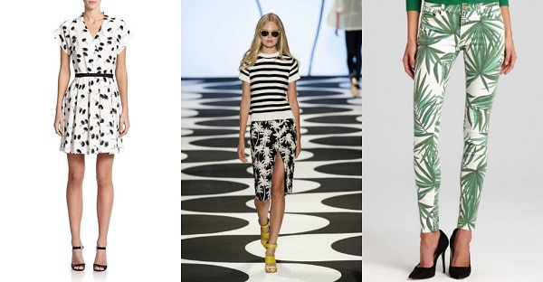 Palm tree print trend: Saks Fifth Avenue, Nicole Miller Spring 2015, Bloomingdales