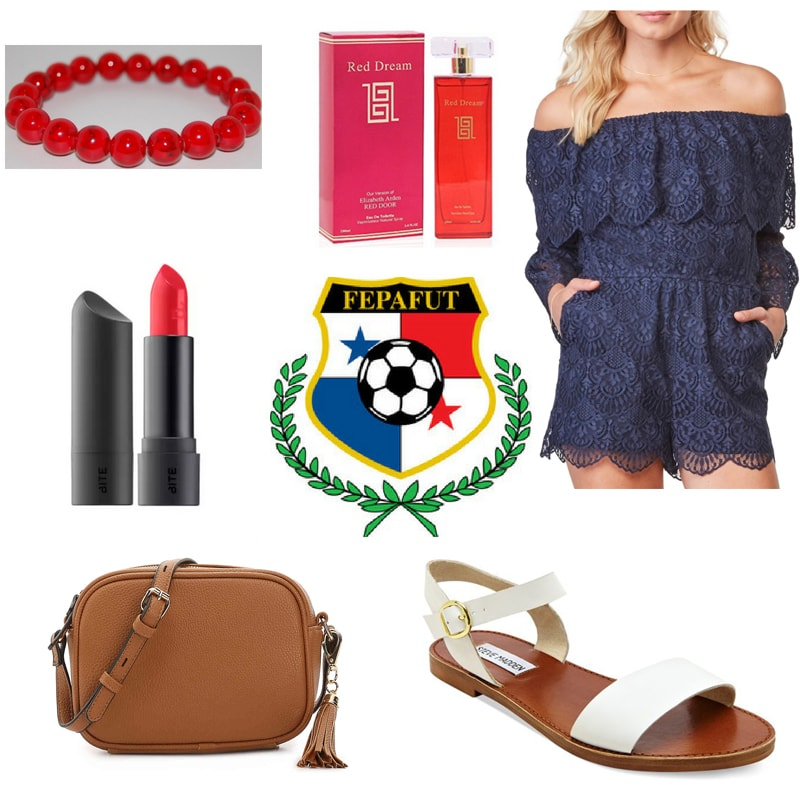 Panama world cup outfit with navy blue lace romper, white shoes, brown bag, red beaded bracelet, red lipstick