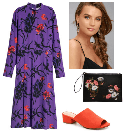 Pantone 2018 color of the year fashion: Outfit with Ultra violet dress, orange mules, black and orange floral clutch, earrings