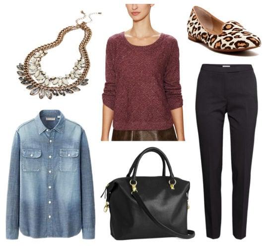 Pantone marsala sweater black pants