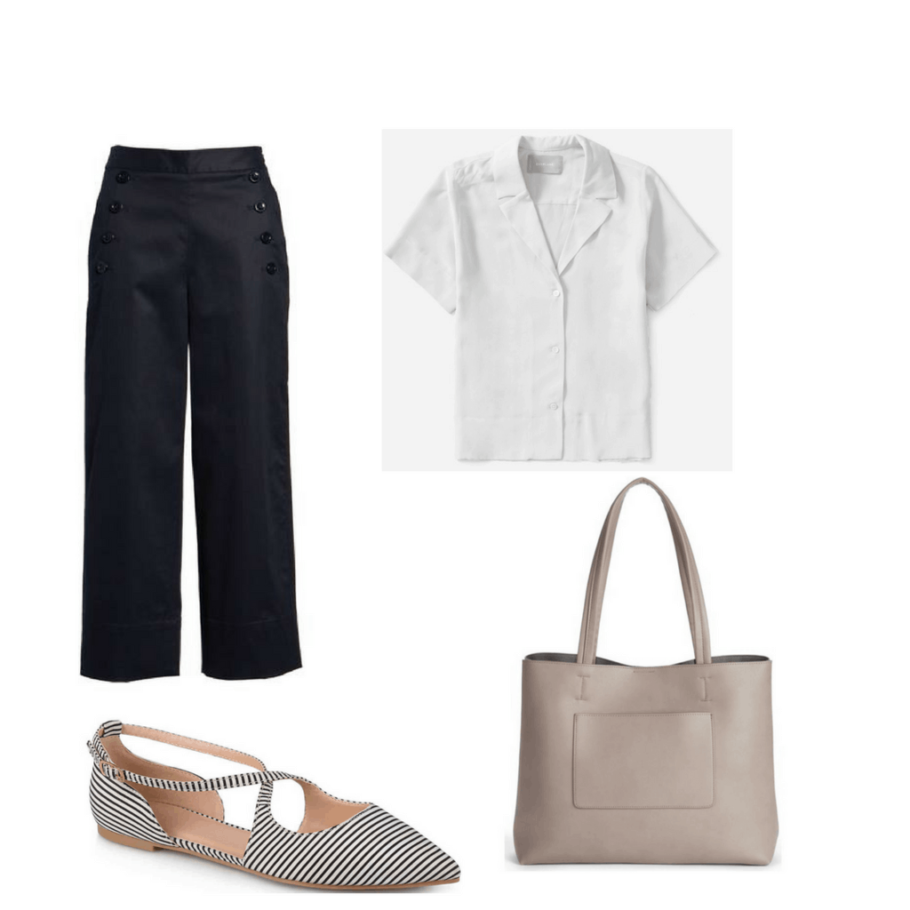 Fashion interview outfit: Pants, blouse, flats, tote