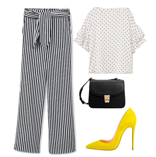 Polyvore set including: Striped pants, a polka dot shirt, yellow heels, and a black crossbody bag.
